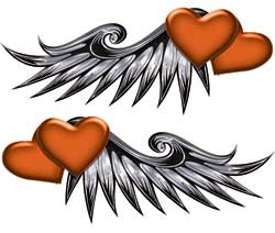 Double Heart Wing Graphics in Orange
