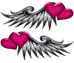 Double Heart Wing Graphics in Pink