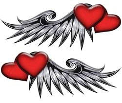 Double Heart Wing Graphics in Red