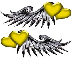 Double Heart Wing Graphics in Yellow