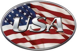 Oval USA Decal with American Flag