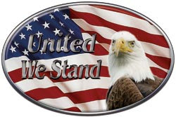 Oval United We Stand Decal with American Flag and Bald Eagle
