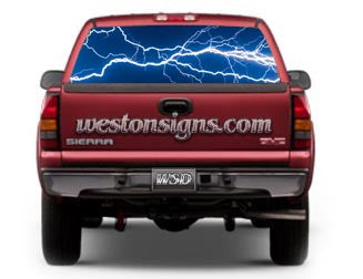 View Thru Electric Lightning Window Graphic