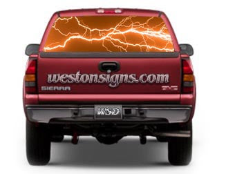 View Thru Electric Lightning Window Graphic Orange