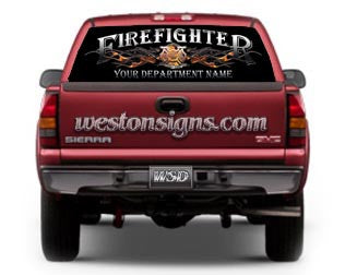 Personalized Firefighter View Thru Rear Window Graphic