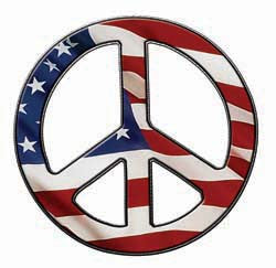 Peace Decal in American Flag