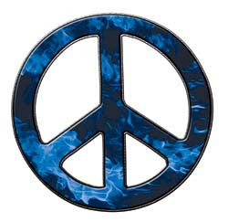 Peace Decal in Inferno Blue