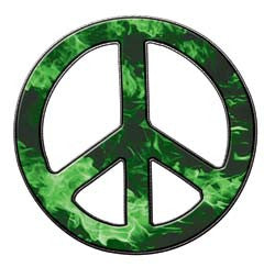 Peace Decal in Inferno Green