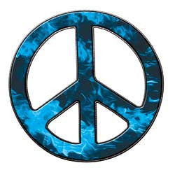 Peace Decal in Inferno Light Blue