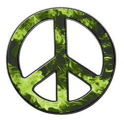 Peace Decal in Inferno Light Green