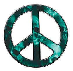 Peace Decal in Skull Aqua
