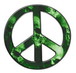 Peace Decal in Skull Green