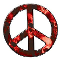 Peace Decal in Skull Red