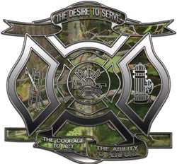 """The Desire to Serve"" Firefighter Decal - Camo"