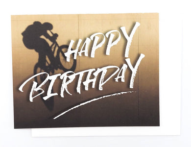 Happy Birthday BMX - GREETING CARD Brown