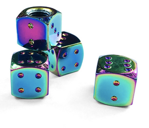 Oil Slick Dice Valve Caps (Sold in Pairs)