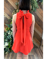 Ruffle Neck Dress with Tie in Poppy