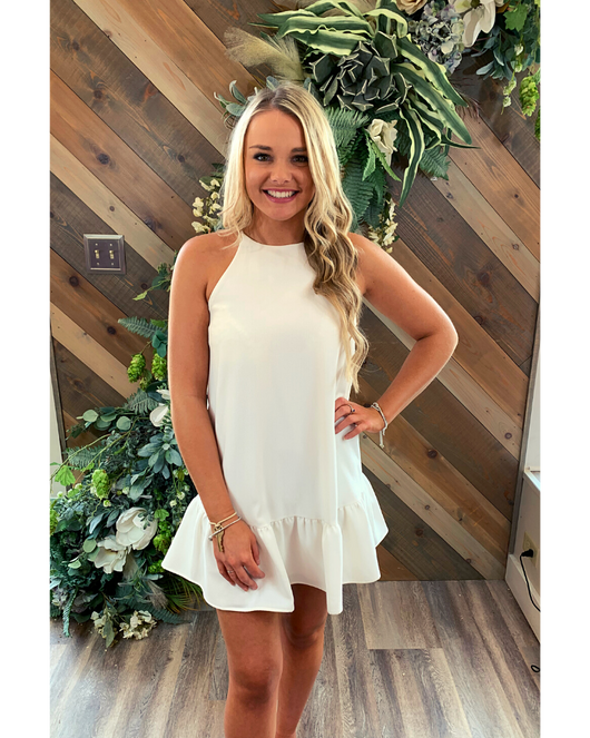 Sleeveless Flounce Bottom Dress in White