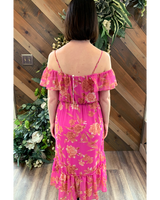 Off Shoulder Floral Midi Dress in Fuchsia
