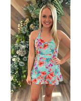 Flower Power Romper in Lavender and Mint