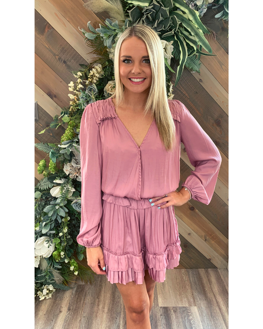VNeck Pleat Ruffle Dress in Pink