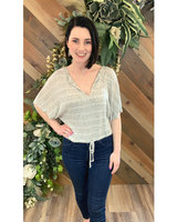 Knit Tie Top in Light Gray