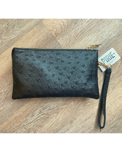 The Go-to Clutch in Black Ostrich