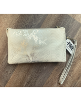 Go-to Clutch in White Snakeskin