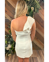 One shoulder Dress in White