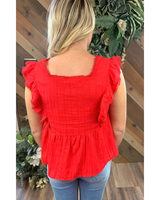 Smock Red Detail Top