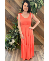 Melon Tier Maxi Dress