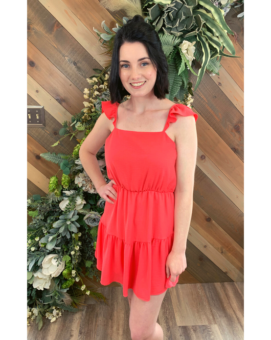 Coral Ruffle Strap Dress