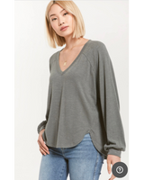 Plira Sweater Slub V-neck Top In Ash green