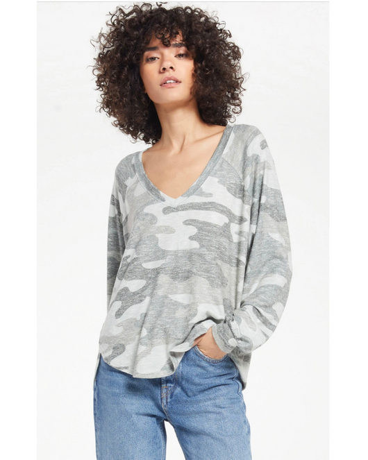 Plira Sweater Slub V-neck top in Ash Green Camo