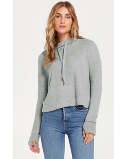 Kacey Feather Hoodie in Charcoal & Mint