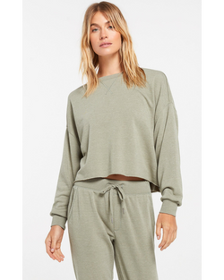 Izzy Loop Terry Pullover in Green