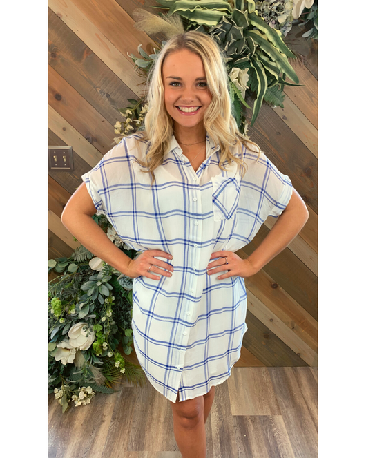 Blue Plaid Shirt Dress