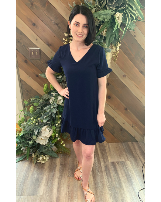 Ruffle Navy Shift Dress