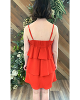 Tiered Party Dress in Red