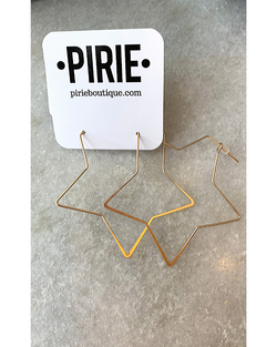 Star Outline Hoops in Gold