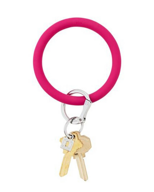 Silicone Key Ring in Scream Pink