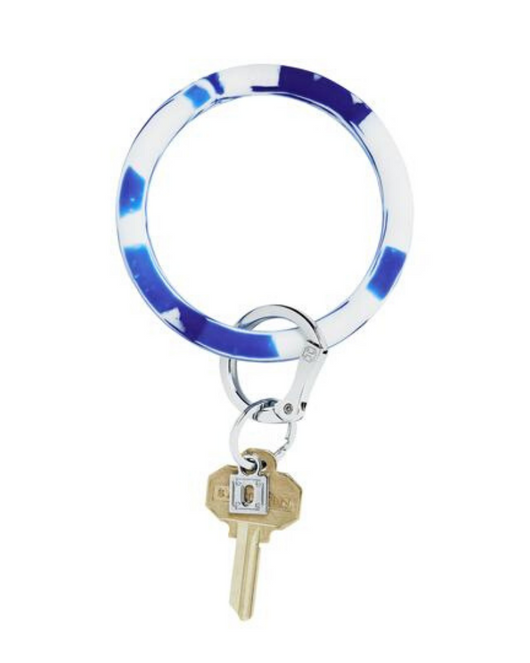 Silicone Key Ring in Blue Marble