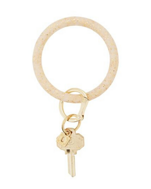 Silicone Key Ring in Gold Glitter