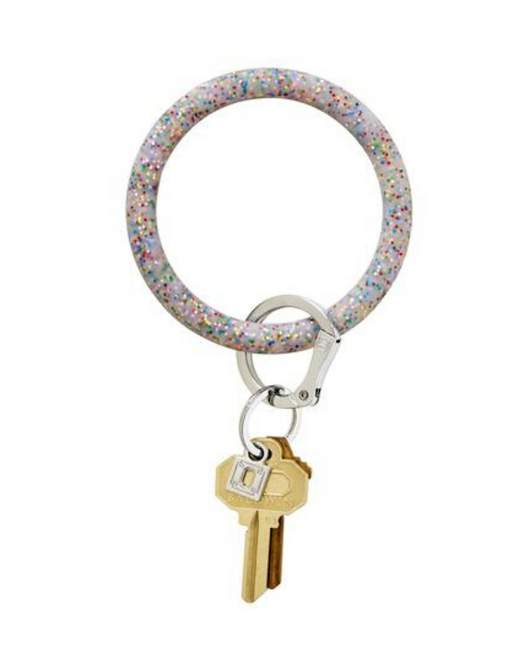 Silicone Key Ring in Rainbow Glitter