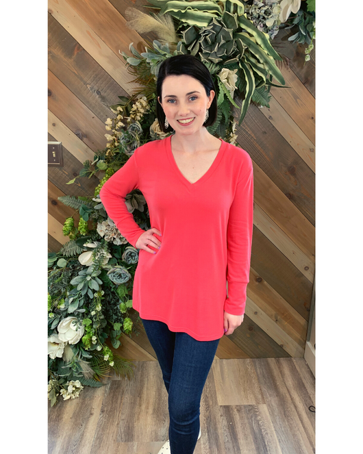 V-Neck Tunic in Glow Coral