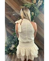 Cream Neck Bow Dress