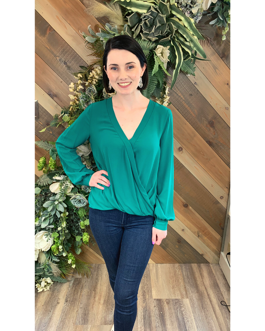 Draped Long Sleeve Blouse in Green