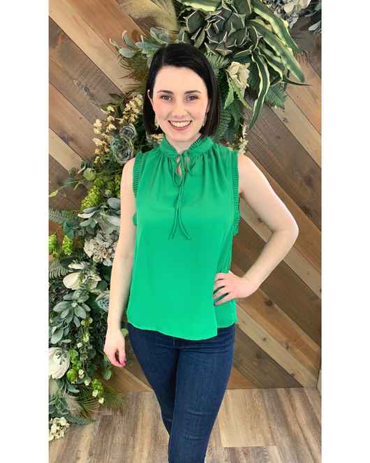 Ruffle Tie Top in Green