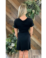 Crew Neck Tie Waist Dress in Black