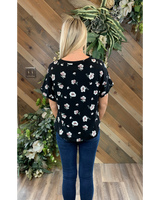 V Neck Dolman Tee in Floral